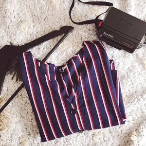 H&M Tops - H&M Divided Stripe Crop Top